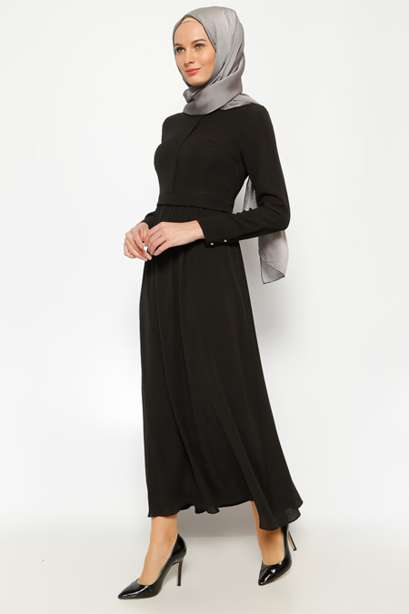 LOREEN Siyah Pileli Elbise