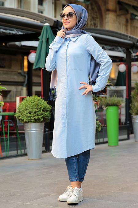 MİSS ZERA Mavi Coton Tunik