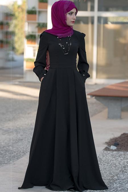 MİSS VAQA Siyah Simla Elbise