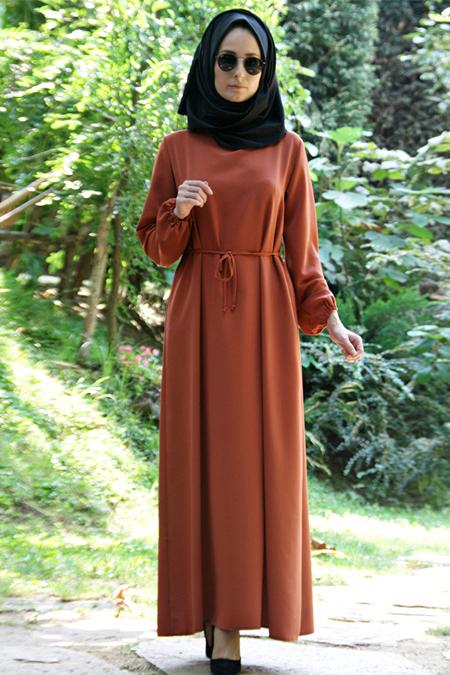 Melek Aydın Kiremit Beli Büzgülü Elbise