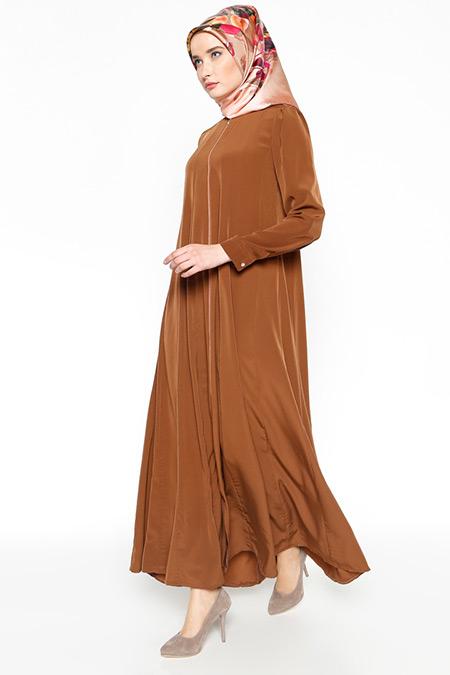 Modanaz Kahverengi Fermuarlı Ferace