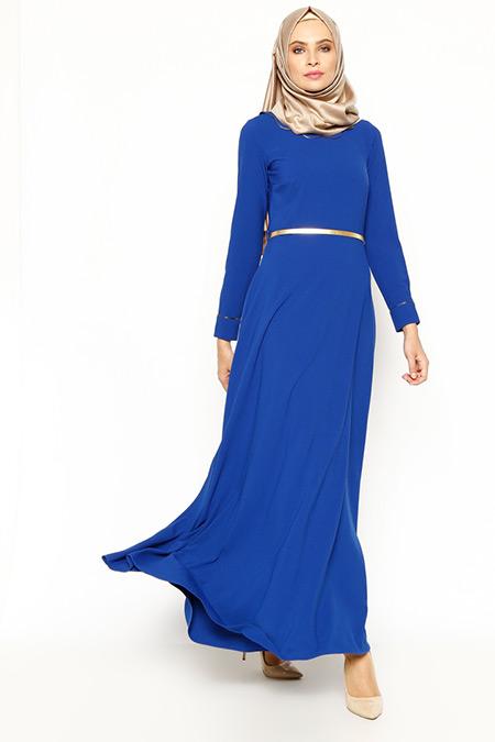 New Kenza Saks Biyeli Elbise