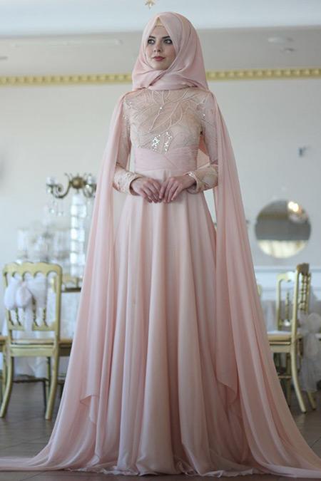 Nurbanu Kural Pudra Pelerin Abiye Elbise