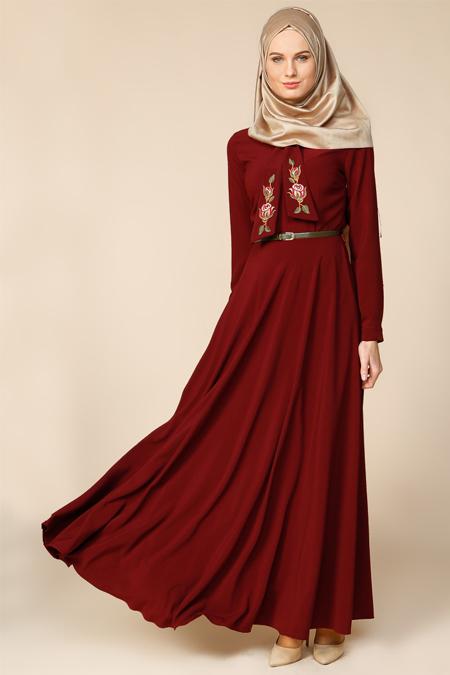 Puane Bordo Nakış İşlemeli Elbise