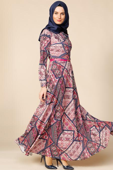Puane Fuşya Desenli Elbise