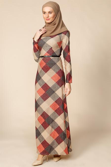 Puane Turuncu Desenli Elbise