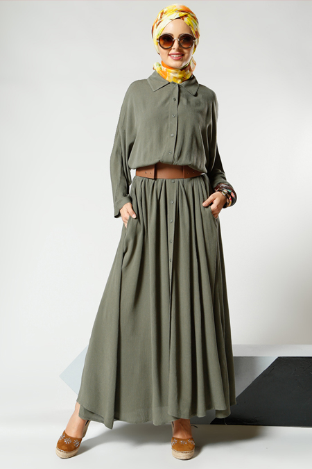 Refka Haki Natural Kumaşlı Yarasa Kollu Elbise
