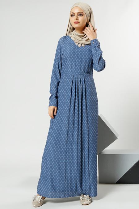 Refka İndigo Desenli Elbise