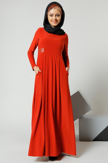 Refka Kiremit Cep Detaylı Elbise