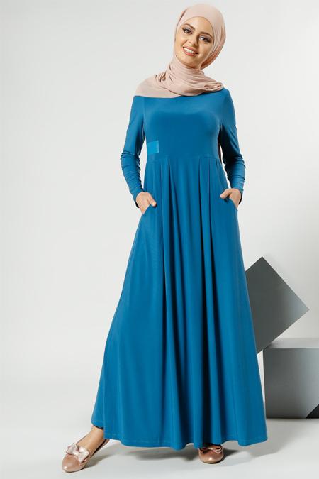 Refka Petrol Cep Detaylı Elbise