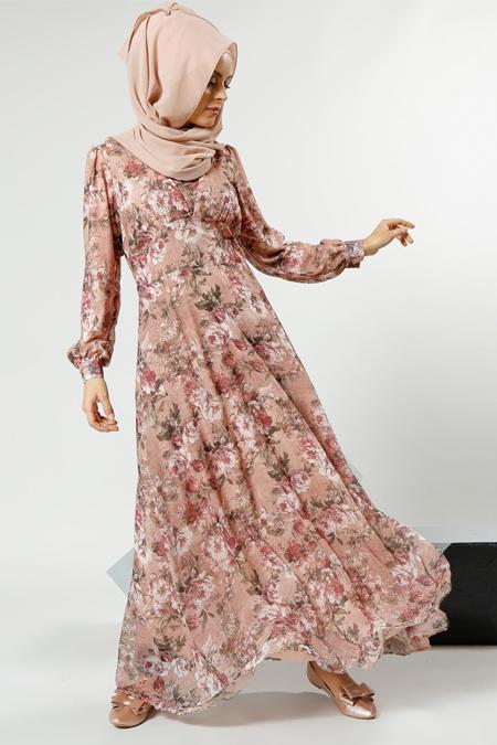 Refka Pudra Desenli Elbise