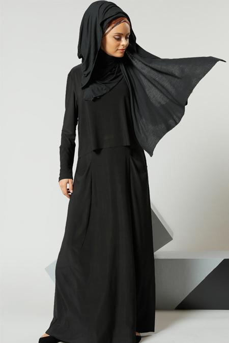 Refka Siyah Cep Detaylı Elbise