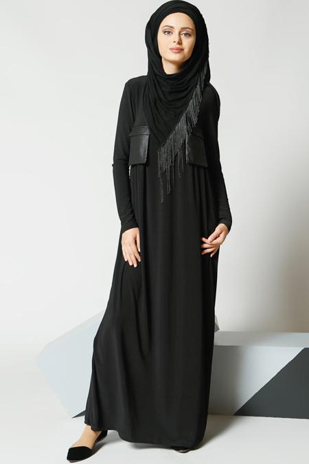 Refka Siyah Cepli Elbise