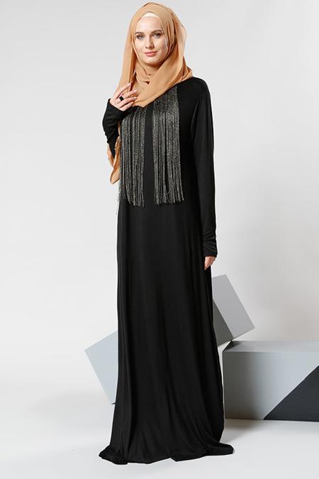 Refka Siyah Püskül Detaylı Elbise