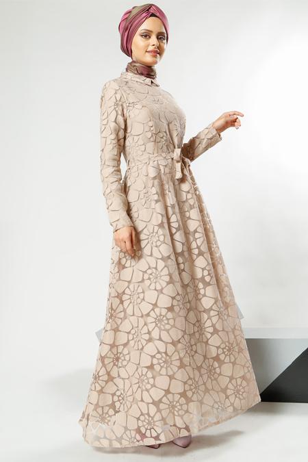 Refka Women Bej Yakma Elbise