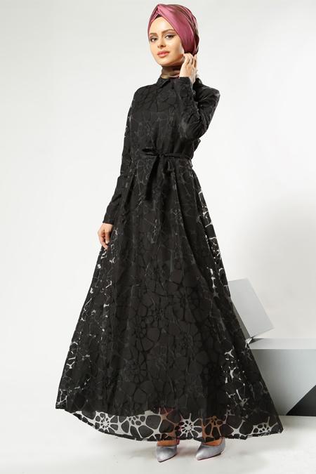 Refka Women Siyah Yakma Elbise