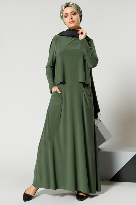 Refka Yeşil Cep Detaylı Elbise