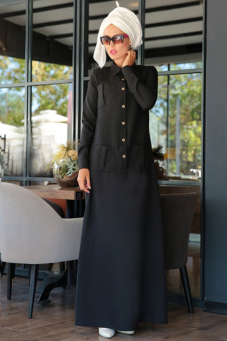 Selma Sarı Design Siyah Düğmeli Spor Elbise