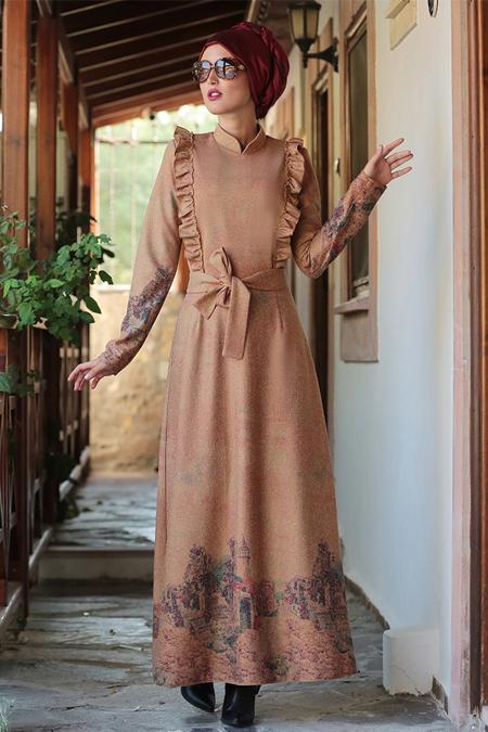 Selma Sarı Design Açık Taba Fırfırlı Elbise