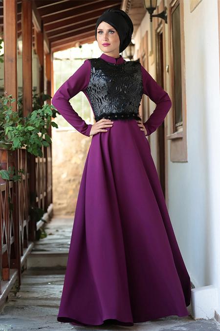Selma Sarı Design Mürdüm Burç Deri Detaylı Elbise