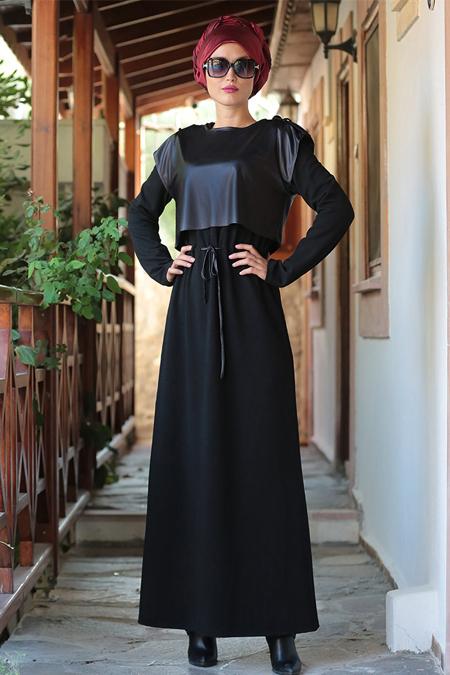 Selma Sarı Design Siyah Deri Yelekli Elbise