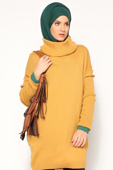 Seyhan Fashion Hardal Boğazlı Yaka Tunik