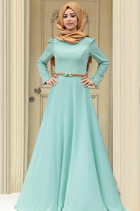 Zehrace Mint Simge Elbise