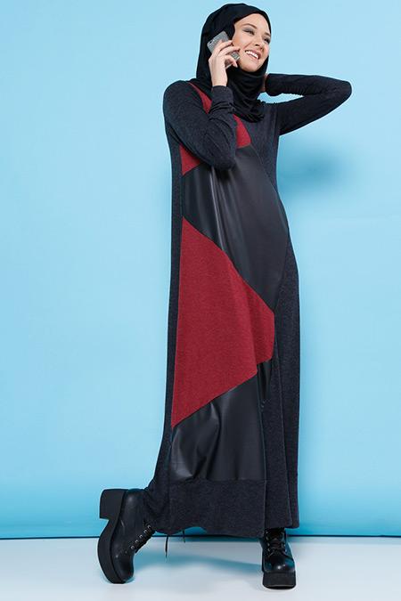 Benin Antrasit Bordo Garnili Elbise