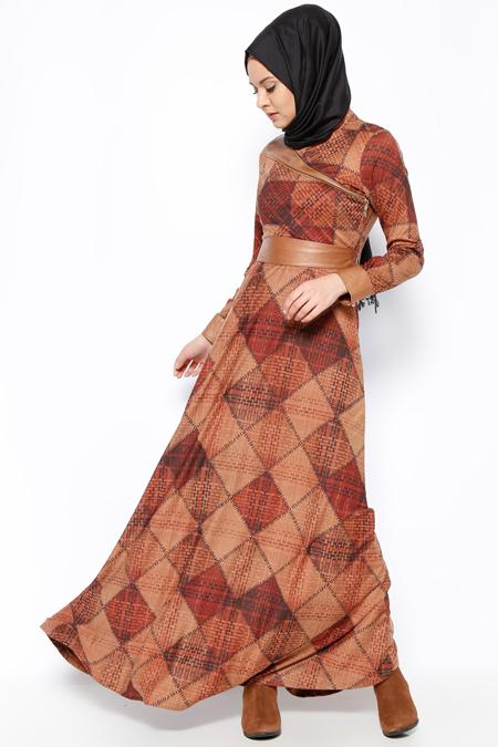DMN PLUS Kahverengi Desenli Elbise