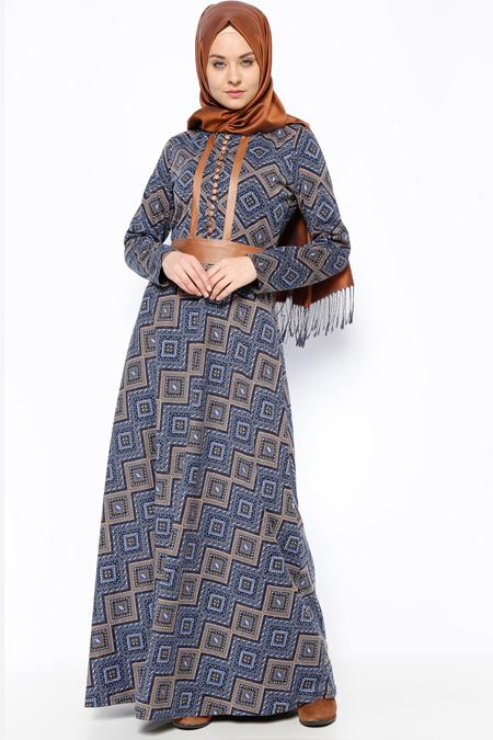 DMN PLUS Lacivert Desenli Elbise