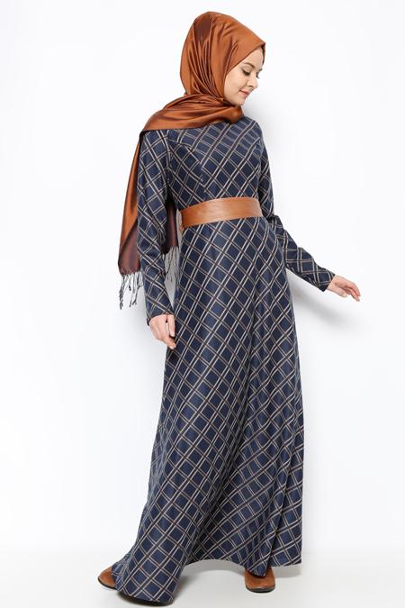 DMN PLUS Vizon Desenli Elbise
