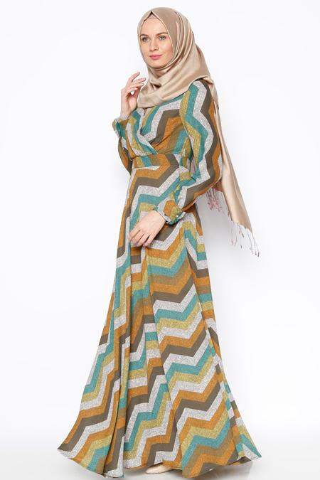 Eva Fashion Haki Desenli Elbise