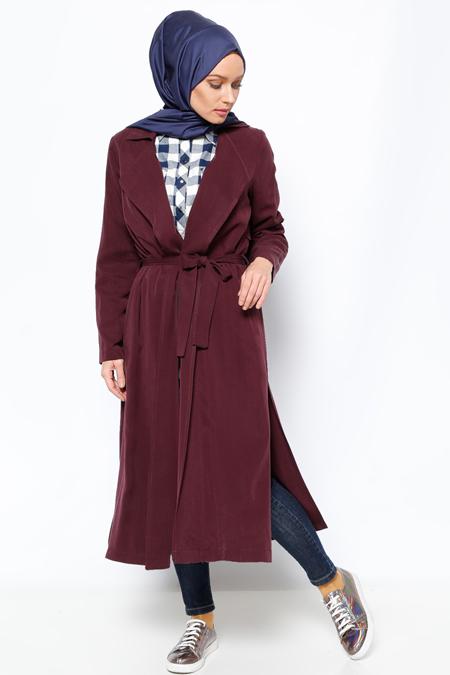 Eva Fashion Mor Şal Yaka Trençkot