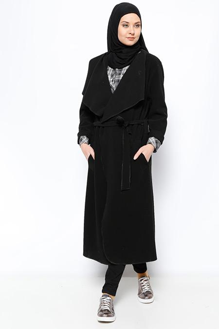 Eva Fashion Siyah Şal Yaka Kaban