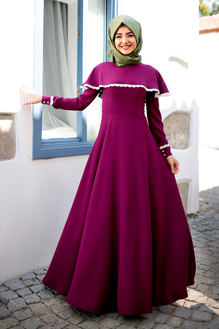 Gamze Özkul Fuşya Güz Pelerin Elbise