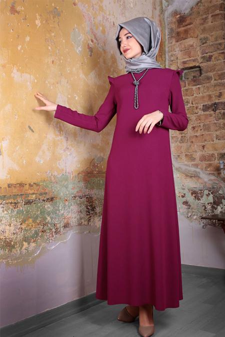Gamze Özkul Fuşya Aura Elbise