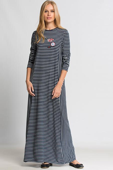 LC Waikiki Lacivert Çizgili Uzun Kollu Uzun Elbise