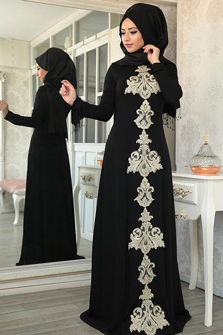 Lef ` Zen Siyah Mahfer Abiye Elbise