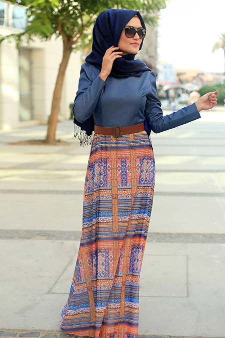 Lef`zen Mavi Etnik Desenli Elbise