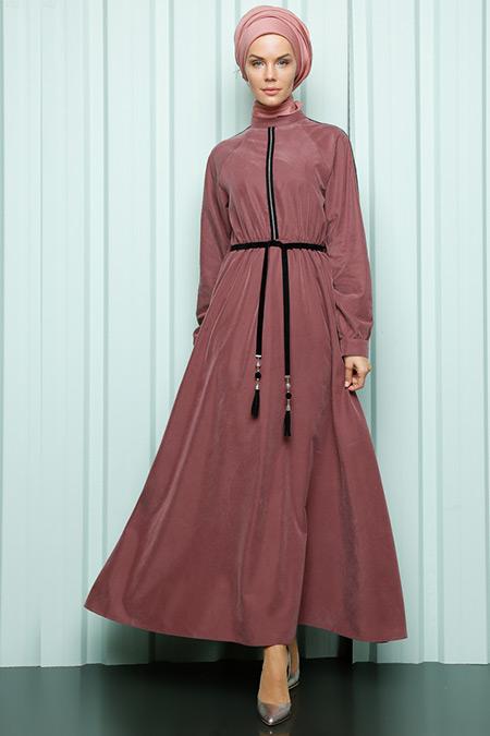 Luvice Bordo Zincir Detaylı Elbise