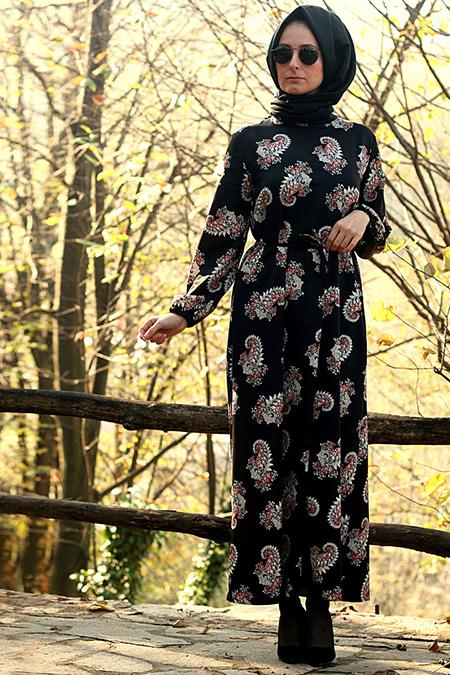Melek Aydın Siyah Çiçek Desenli Elbise