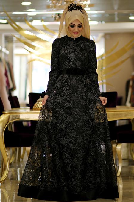 Minel Aşk Siyah Dossy Abiye Elbise
