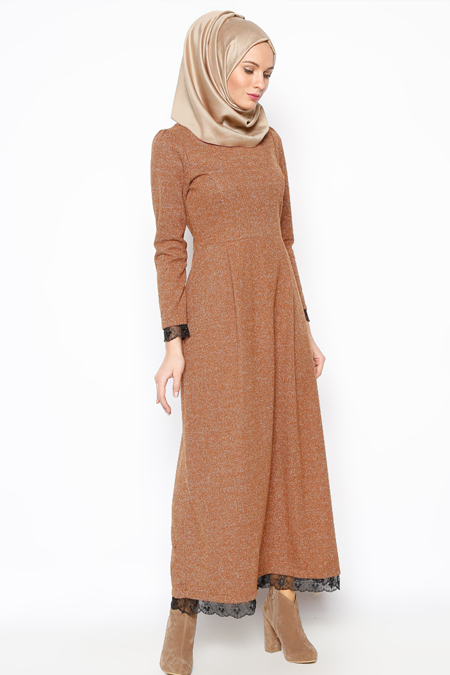 Modesty Camel Dantel Aplikeli Elbise