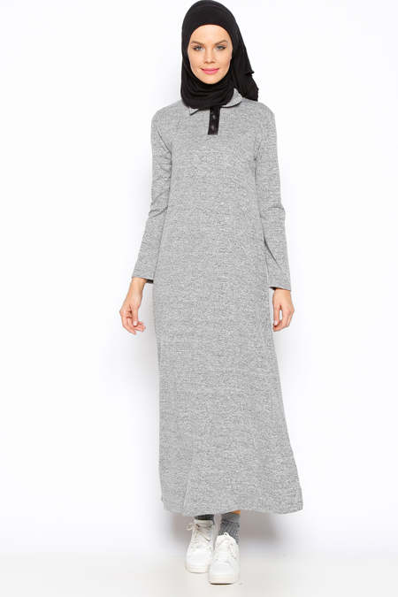 Moonlight Gri Kırçıllı Elbise