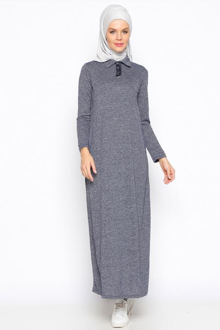 Moonlight Lacivert Kırçıllı Elbise
