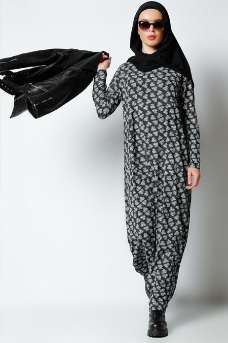 Muni Muni Siyah Çiçek Baskılı Elbise