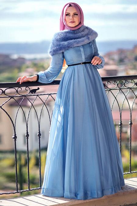 Muslima Wear Mavi Şifon Abiye Elbise