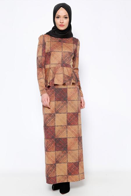 Pita Bordo Peplum Detaylı Elbise