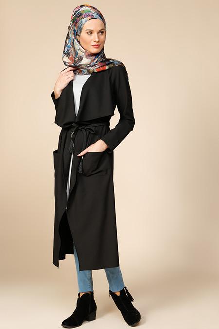 Puane Siyah Kemerli Uzun Ceket