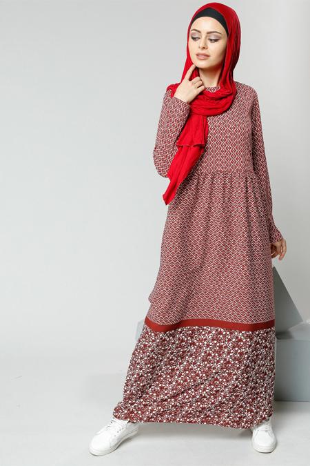 Refka Bordo Desenli Elbise